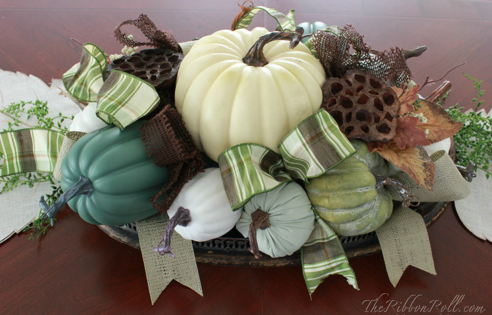 Ribbon & Pumpkin Fall Centerpiece
