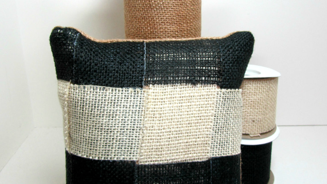 DIY Accent Pillow With Burlap Ribbon