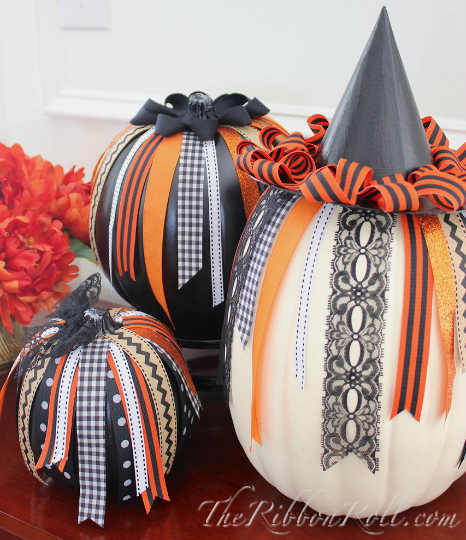 No Carve Halloween Pumpkins With Ribbon