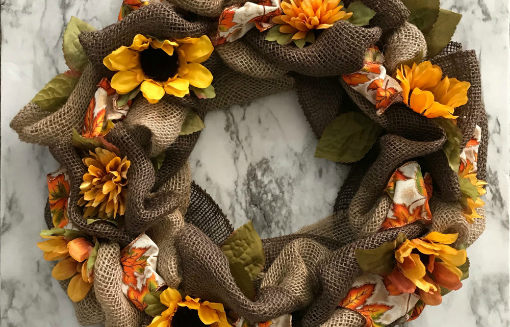 Make a Fall Wreath with Burlap & Ribbon