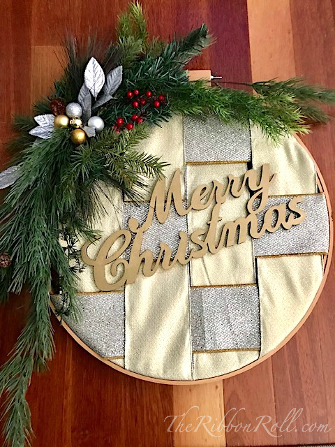 Embroidery Hoop & Ribbon Christmas Wreath