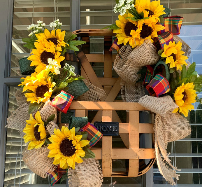 Ribbon & Sunflower Fall Door Basket